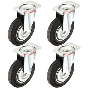 4 Pack 8 inch Rubber Swivel Caster Wheel Top Plate 507 Lbs Load Capacity Each