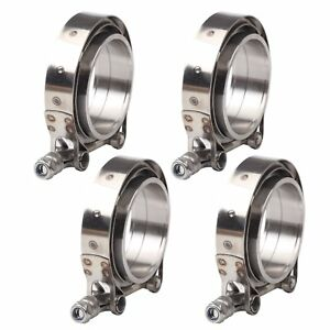 3 V Band Flange Clamp Kit Male Female With Ridge Exhaust Downpipe Stainless X4