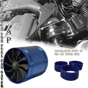 3 Inch Cold Air Intake Short Ram Tornado Supercharger Fuel Saver Dual Fan Blue