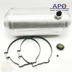 New 9 Gallon Fuel Gas Tank Round Silver Aluminum 11x22 End Fill Spun Fuel Tank