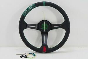 New Steering Wheel 3spoke Racing Style Leather Green Stitching W horn Button 14