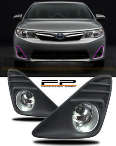 2012 2014 Toyota Camry Fog Lights Clear Lens Front Driving Lamps Complete Kit