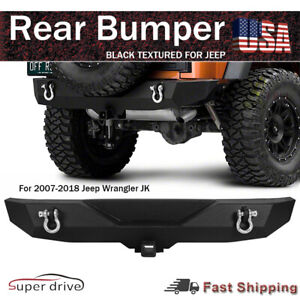Black Textured Heavy Duty Rear Bumper For 2007 2018 Jeep Wrangler Jk Rear Guards