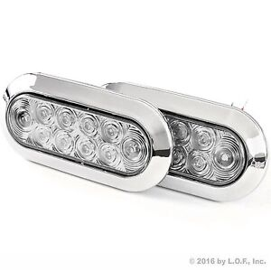 2 Oval 6 Red Clear Chrome Led Stop Turn Tail Light Truck Trailer Surface Mount