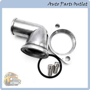 New Polished Aluminum 90 Swivel Thermostat Housing Water Neck For Sbc Bbc Chevy