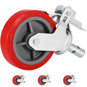 Set Of 4 Swivel Stem Casters With 2 Cast Rubber Wheels With Double Locking