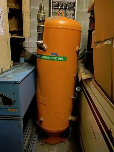 120 Gallon Vertical Air Storage Tank With Gauge Pipes Etc