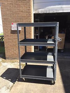 Used 5 Tall X 24 X 36 Edsal Gray Steel Cart 4 Shelves 800 Lb Capacity