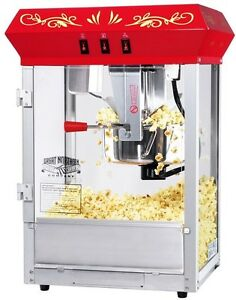 Popcorn Machine Popper Maker Cart Paramount Style Funtime Theater Kettle Red New