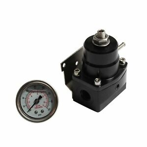 Black Adjustable Fuel Pressure Regulator With 6an Fitting End 100psi Gauge Wt