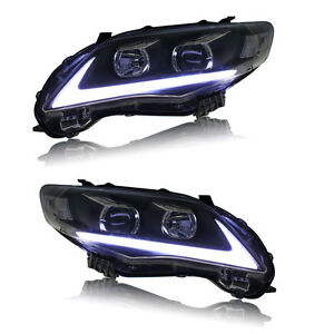 Fit For Toyota Corolla Headlight 2011 2012 2013 Led Drl Angel Eye Halo Projector