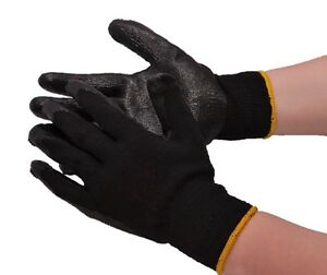 50 pair Black Latex Rubber Coated Dipped Palm String Knit Work Gloves Large L