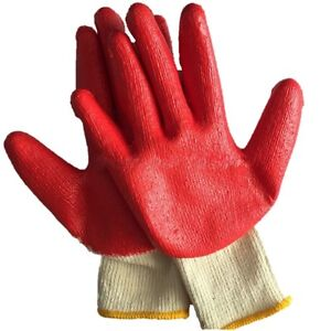 50 pair Red Latex Rubber Coated Dipped Palm String Knit Work Gloves Large L New
