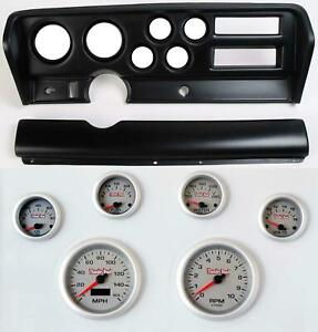 70 72 Gto Black Dash Carrier Concourse Silver Face Gauges