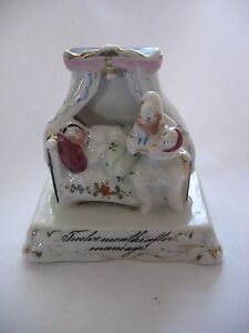 Antique Staffordshire Porcelain Fairing Figurine 12 Months After Marriage