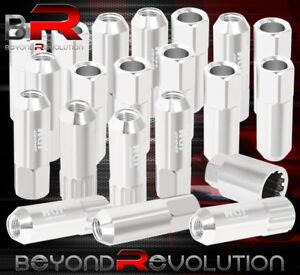 For Subaru M12x1 25 Locking Lug Nuts 20pc Jdm Extended Aluminum Anodized Silver