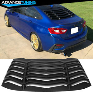 Fits 16 19 Chevy Cruze Rear Window Louvers Cover Sun Shade Unpainted Black Abs