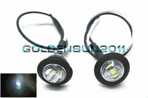 2pcs White 3 4 Led Marker Lights Triple Diode Truck Trailer Clearance Indicator