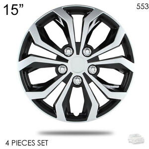 New 15 Abs Silver Rim Lug Steel Wheel Hubcaps Cover 553 For Vw