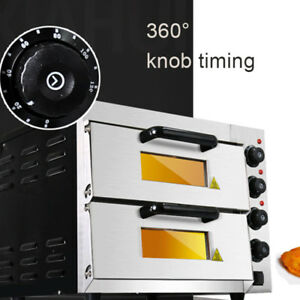 220v Commercial Double Electric Pizza Oven 3000w Pizza Bread Making Machine