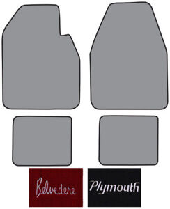 1962 1965 Plymouth Belvedere 4 Speed Loop Carpet Logo Floor Mat 4pc