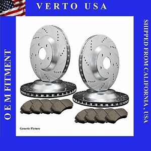 Front Rear Drilled Slotted Brake Rotors Pads For 2005 2014 Ford Mustang