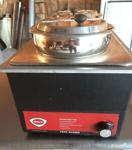 Wells Rectangle Countertop Food Warmer 2 Stainless Steel Insets With Covers