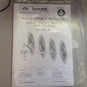 Tonutti 3 Point Hitch Rakes Operators Manual Parts List