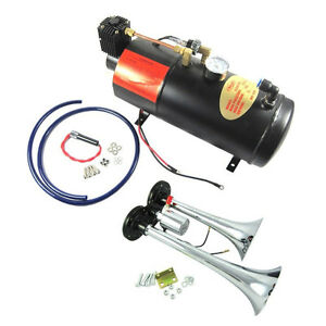 Train Horn Kit Loud Dual 2 Trumpet W 120 Psi Air Compressor Complete System