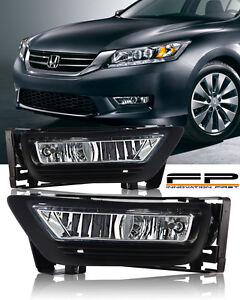 2013 2014 2015 Honda Accord Sedan 4dr Clear Fog Light Driving Lamp Complete Kit