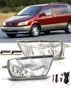 1998 2003 Toyota Sienna Clear Lens Bumper Driving Fog Lights Complete Kit Pair