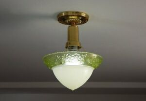 Vintage Depression Glass Brass Beaded Chain Ceiling Light Fixture