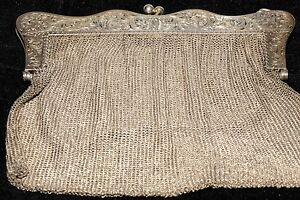 Antique Silver Sterling Ladies Mesh Purse Bag Aprox 262gr