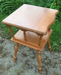 Vintage Maple Square Spindle End Table 16 W X 24 H