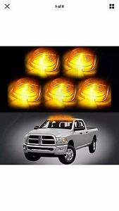 5pcs Amber Roof Cab Marker Clearance Led Bulbs Lights 2003 2015 Dodge Ram Dually