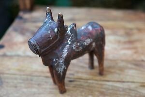 Antique Hand Carved Wood Cow Bull Ox Reindeer Toy Primitive Folk Art
