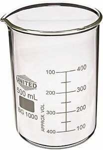United Scientific Bg1000 500 Borosilicate Glass Low Form Beaker 500ml Capacity