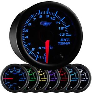 Glowshift Black 7 Color 1300 Celsius Exhaust Temperature Gauge Gs C708 C