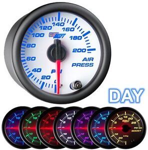 Glowshift White 7 Color 200 Psi Air Pressure Gauge Suspension Air Ride Gs W713