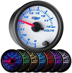 52mm Glowshift White 7 Color Electrical Volt Meter Voltage Gauge Gs W705