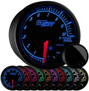2 1 16 Glowshift Black Elite 10 Tachometer W Adjustable Rpm Warnings Gs Et10
