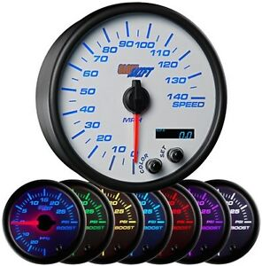Glowshift White 7 Color 3 3 4 In Dash Speedometer Gauge Gs w717