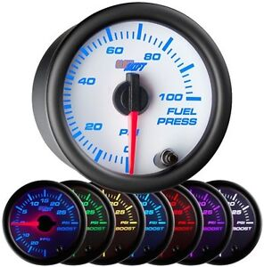 Glow Shift 52mm Glowshift White 7 Color 100 Psi Fuel Pressure Gauge Gs W711