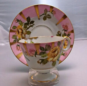 Vintage Royal Sealy China Tea Cup Saucer Hand Painted Rose Pattern Gift Idea