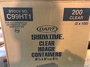 Dart Showtime Clear Hoagie Takeout Containers C99ht1 pack Of 100