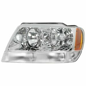 New Ch2502120 Driver Side Headlight Chrome For Jeep Grand Cherokee 1999 2004
