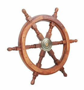 Teak Ship S Steering Wheel 24 Nautical Pirate Hanging Wall Decor Brass Hub New