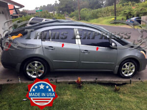 Fit 2007 2012 Nissan Sentra Chrome 4pc Window Sill Trim Overlay Stainless