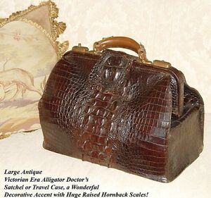 Antique Victorian 16 5 Alligator Satchel Lg Hornback Scales Doctor S Bag