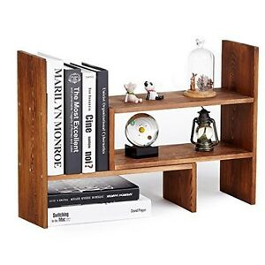 Desktop Shelf Rack Adjustable Office Organizer Countertop Storage Display Wood